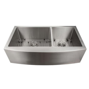 ZLINE Farmhouse Series 36 Inch Undermount Double Bowl Apron Sink in Stainless Steel, SA60D-36-1 test