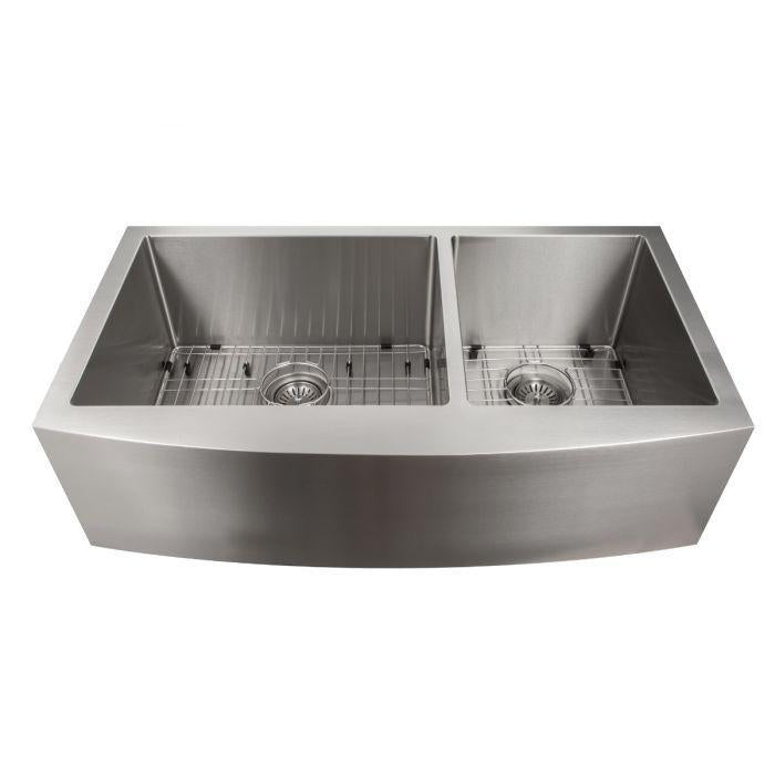 ZLINE Farmhouse Series 36 Inch Undermount Double Bowl Apron Sink in Stainless Steel, SA60D-36-1