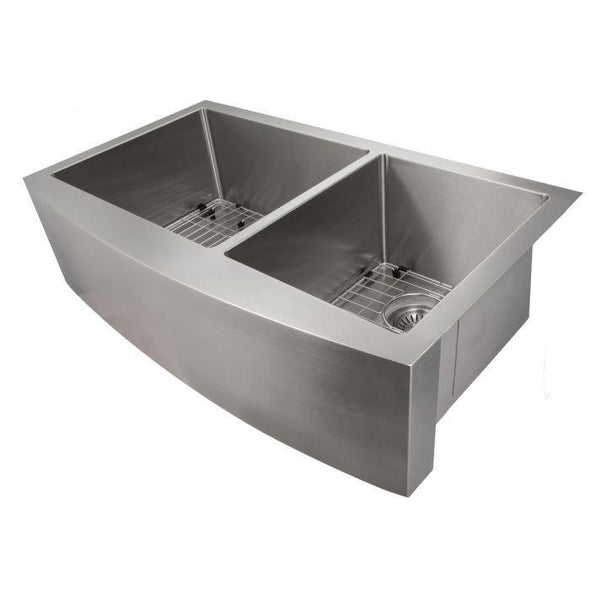 ZLINE Farmhouse Series 36 Inch Undermount Double Bowl Apron Sink in Stainless Steel, SA60D-36