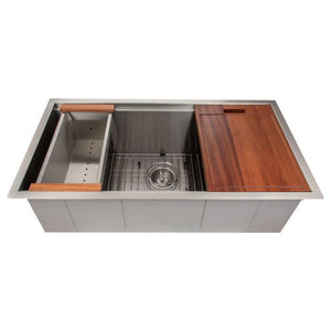 ZLINE Designer Series 33 Inch Undermount Single Bowl Ledge Sink in Stainless Steel with Accessories SLS-33-1 test