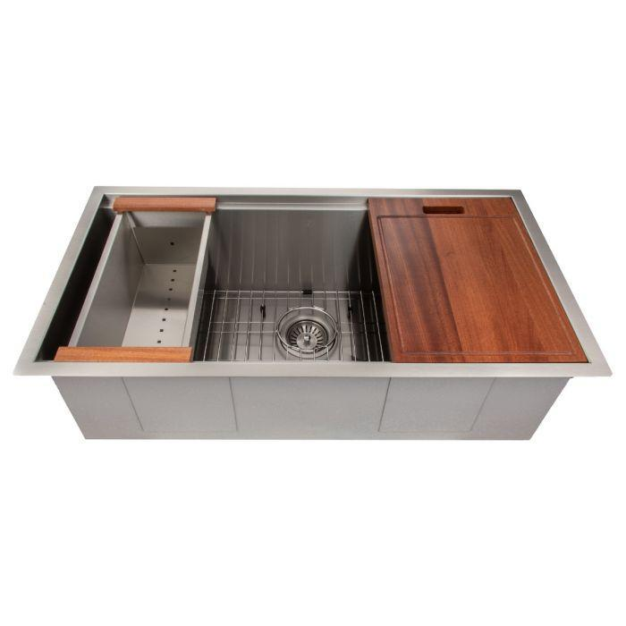 ZLINE Designer Series 33 Inch Undermount Single Bowl Ledge Sink in Stainless Steel with Accessories SLS-33-1