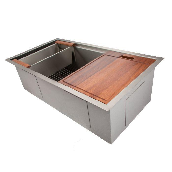 ZLINE Designer Series 33 Inch Undermount Single Bowl Ledge Sink in Stainless Steel with Accessories SLS-33-2