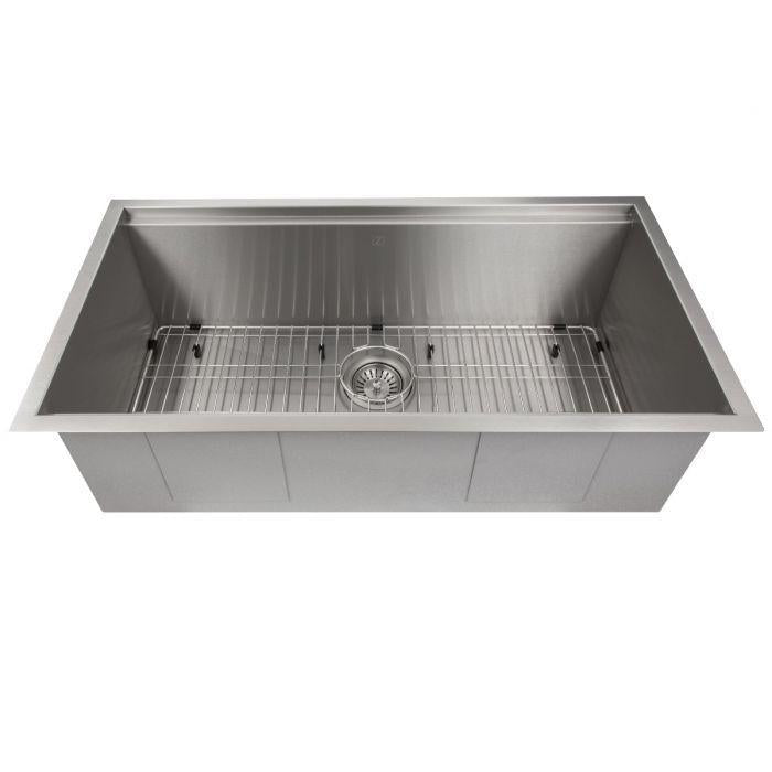 ZLINE Designer Series 33 Inch Undermount Single Bowl Ledge Sink in Stainless Steel with Accessories SLS-33-3