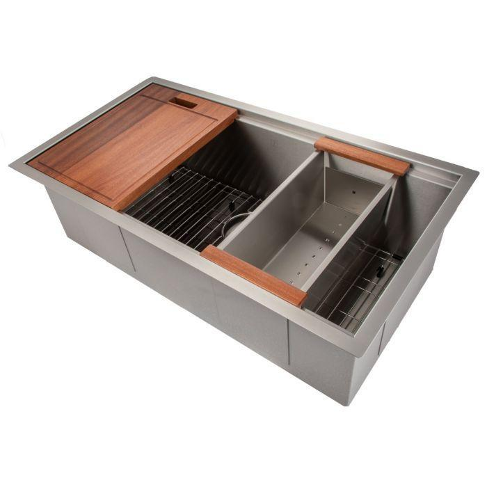 ZLINE Designer Series 33 Inch Undermount Single Bowl Ledge Sink in Stainless Steel with Accessories, SLS-33