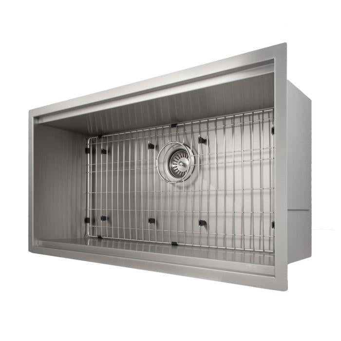 ZLINE Designer Series 33 Inch Undermount Single Bowl Ledge Sink in Stainless Steel with Accessories SLS-33-7