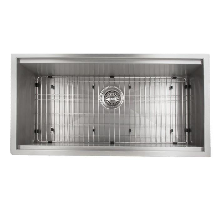 ZLINE Designer Series 33 Inch Undermount Single Bowl Ledge Sink in Stainless Steel with Accessories SLS-33-8