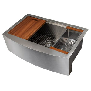 ZLINE Moritz Farmhouse 33 Inch Undermount Single Bowl Sink in Stainless Steel with Accessories (SLSAP-33)