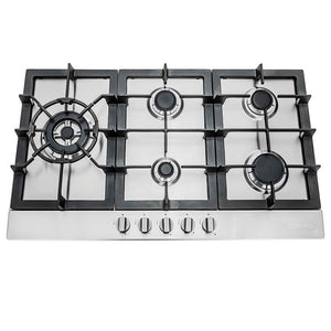 Cosmo 30 in. Gas Cooktop in Stainless Steel with 5 Sealed Brass Burners, 850SLTX-E