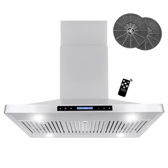 Cosmo 36 in. Ductless Island Range Hood with LED Lighting in Stainless Steel, COS-63ISS90