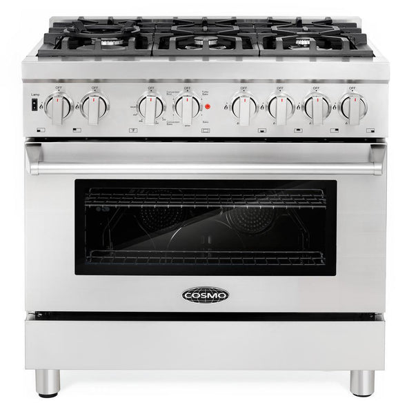 Cosmo 36 in. 4.5 cu. ft. Gas Range w/  6 Italian Burners and Heavy Duty Cast Iron Grate, COS-GRP366