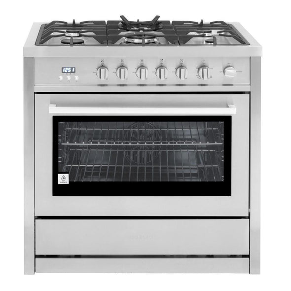Cosmo 36 in. 3.8 cu. ft. Single Oven Gas Range with 5 Burner Cooktop in Stainless Steel, COS-965AGC