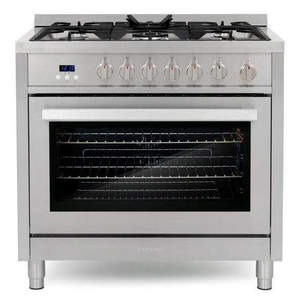 Cosmo 36 in. 3.8 cu. ft. Single Oven Gas Range w/ 5 Burner Cooktop in Stainless Steel, COS-965AGFC