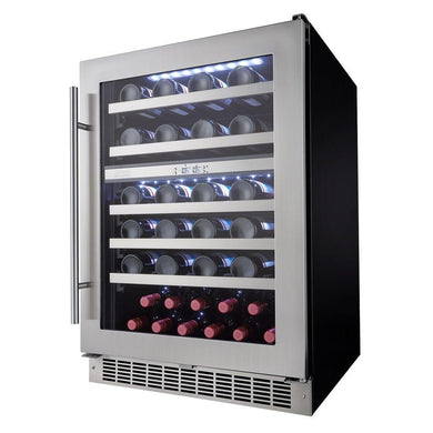 Danby Silhouette Professional 51-Bottle Built-In Dual Zone Wine Cooler, DWC053D1BSSPR