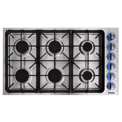 Thor 36 in. Drop-in Propane Gas Cooktop in Stainless Steel, TGC3601LP