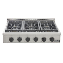 "Kucht Professional Series 36"" Natural Gas Burner Rangetop with Tuxedo Black Knobs, KRT361GU-K"