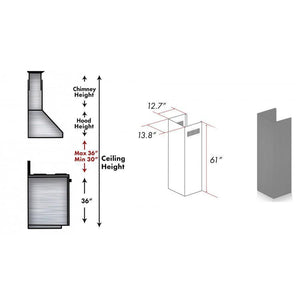 "ZLINE 61"" Wooden Chimney Extension for Ceilings up to 12.5 ft, 321UU-E test"