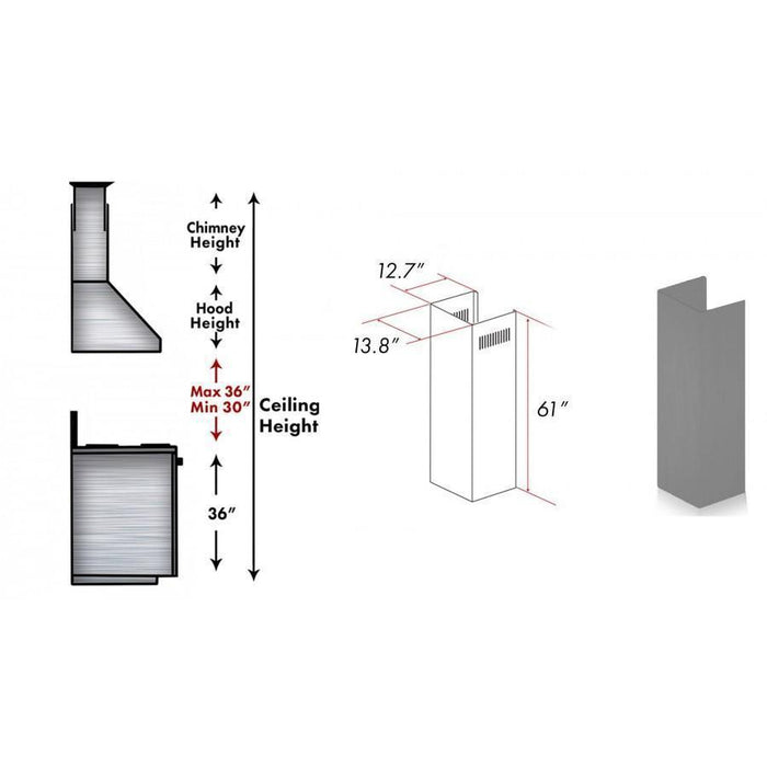"ZLINE 61"" Wooden Chimney Extension for Ceilings up to 12.5 ft, 321UU-E"