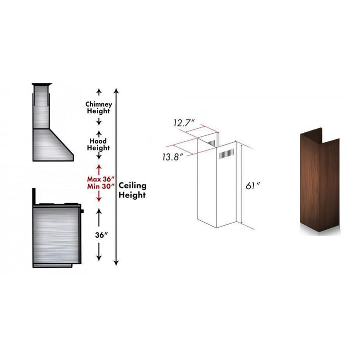 "ZLINE 61"" Wooden Chimney Extension for Ceilings up to 12.5 ft, 329AH-E"