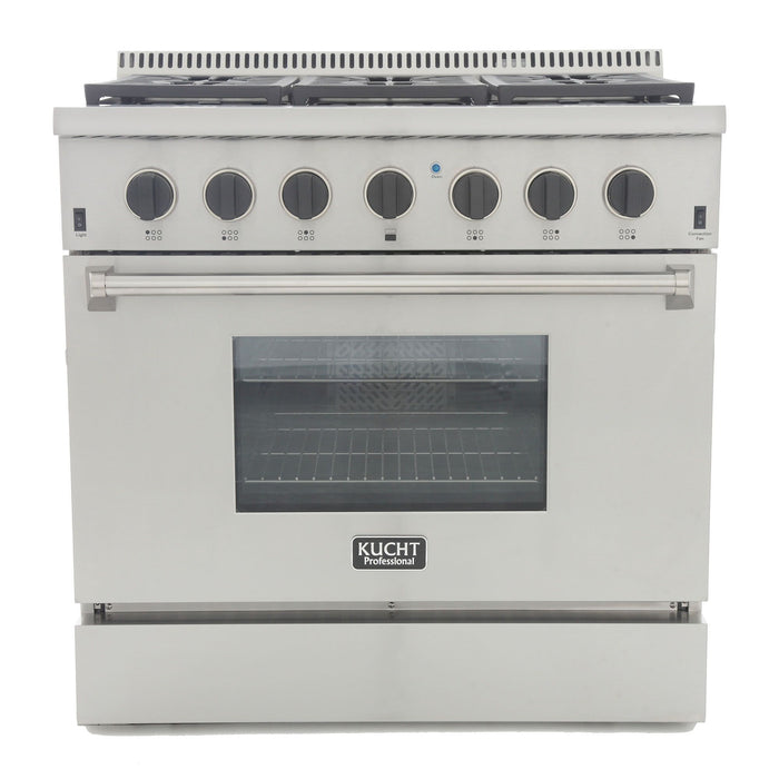 "Kucht Professional 36"" 5.2 cu ft. Natural Gas Range with Tuxedo Black Knobs, KRG3618U-K"