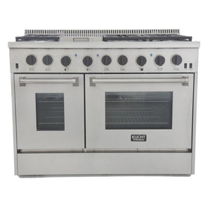 "Kucht Professional 48"" 6.7 cu ft. Propane Gas Range with Tuxedo Black Knobs, KRG4804U/LP-K"