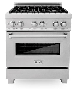 "ZLINE 30"" Professional Gas Burner/Electric Oven in DuraSnow® Stainless with DuraSnow® Stainless Door, RAS-SN-30"