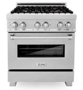 "ZLINE 30"" Professional Gas Burner/Electric Oven in DuraSnow® Stainless with Brass Burners, RAS-SN-BR-30"