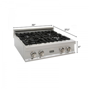 ZLINE 30 in. Rangetop in DuraSnow® Stainless Steel with 4 Gas Burners, RTS-30 test