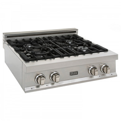 ZLINE 30 in. Rangetop in DuraSnow® Stainless Steel with 4 Gas Burners, RTS-30