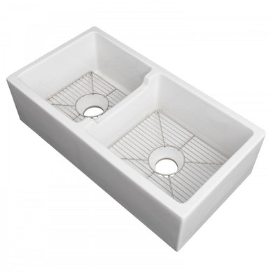 ZLINE Palermo Farmhouse Reversible Fireclay Sink in White Gloss (FRC5121-WH-36)