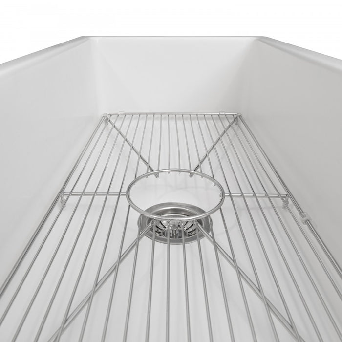 "ZLINE 36"" Venice Farmhouse Apron Front Reversible Single Bowl Fireclay Kitchen Sink with Bottom Grid in White Gloss, FRC5122-WH-36"