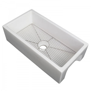 "ZLINE 36"" Venice Farmhouse Apron Front Reversible Single Bowl Fireclay Kitchen Sink with Bottom Grid in White Matte, FRC5122-WM-36 test"