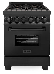 "ZLINE 24"" Professional Gas Burner/Electric Oven Black Stainless Steel Range with Brass Burners, RAB-BR-24"