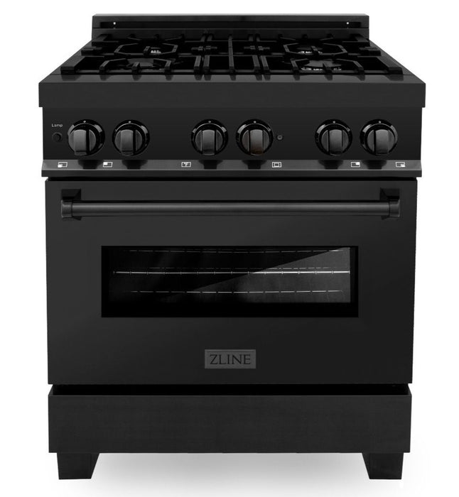 "ZLINE 30"" Professional Gas Burner/Electric Oven in Black Stainless Steel, RAB-30"