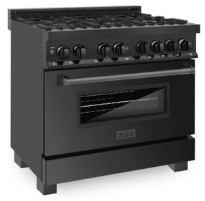 "ZLINE 36"" Professional Gas Burner/Electric Oven in Black Stainless Steel, RAB-36 test"