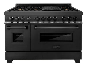 "ZLINE 48"" Professional Gas Burner/Electric Oven in Black Stainless with Brass Burners, RAB-BR-48"