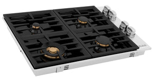 ZLINE 36 in. Dropin Cooktop with 6 Gas Brass Burners and Black Porcelain Top, RC-BR-30-PBT