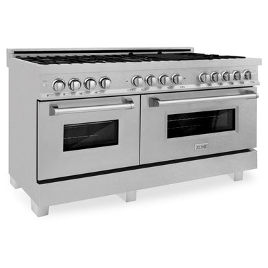"ZLINE 60"" Professional Gas Burner and 7.6 cu. ft. Electric Oven in DuraSnow® Stainless, RAS-SN-60"