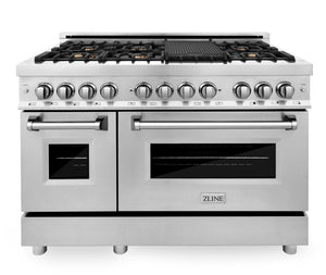 "ZLINE 48"" Professional Gas Burner/Electric Oven in Stainless Steel with Brass Burners, RA-BR-48"