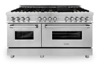 "ZLINE 60"" Professional Gas Burner with Brass Burners, 7.6 cu. ft. Electric Oven in Stainless Steel, RA-BR-60"