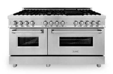 "ZLINE 60"" Professional Gas Burner and 7.6 cu. ft. Electric Oven in Stainless Steel, RA60"