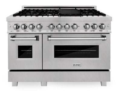 "ZLINE 48"" Professional Gas Burner/Electric Oven in DuraSnow® Stainless with 6.0 cu.ft. Oven, RAS-SN-48"