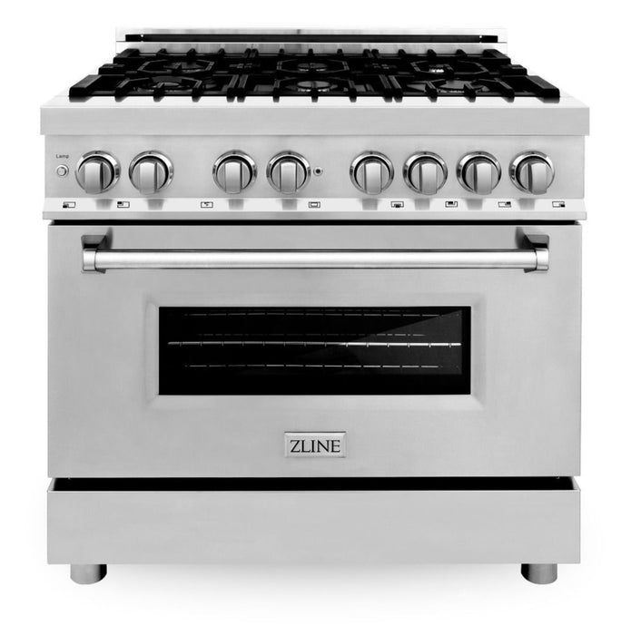 "ZLINE 4 Piece Package - 36"" Dual Fuel Range, Range Hood, Microwave Drawer & Dishwasher, AP-RA36-3"