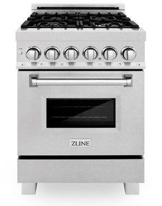 "ZLINE 24"" Professional Gas Burner/Electric Oven in DuraSnow® Stainless Steel Range, RAS-SN-24"