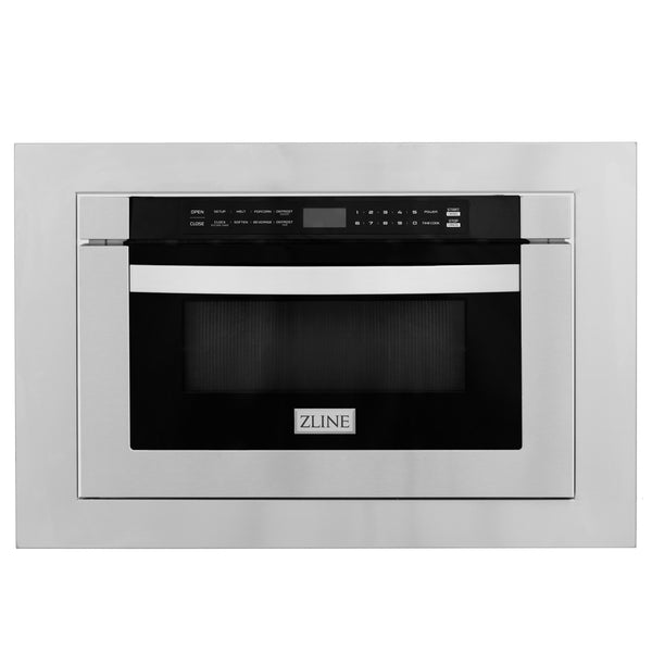 "ZLINE 24"" 1.2 Cu. Ft. Microwave Drawer In Stainless Steel with 30"" Trim Kit, MWD-TK-30"
