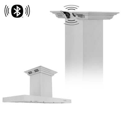 ZLINE 48 in. Island Mount Range Hood in Stainless Steel with Built-in CrownSound' Bluetooth Speakers, KE2iCRN-BT-48