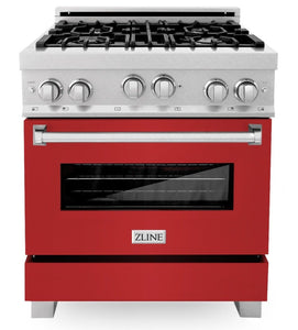 ZLINE 30 in. Professional Gas Range in DuraSnow® Stainless Steel with Red Matte Door, RGS-RM-30