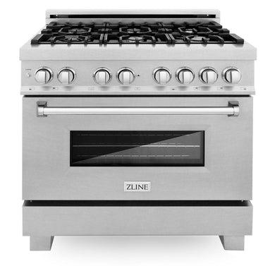 "ZLINE 36"" Professional Gas Burner/Electric Oven in DuraSnow® Stainless with DuraSnow® Stainless Door, RAS-SN-36"