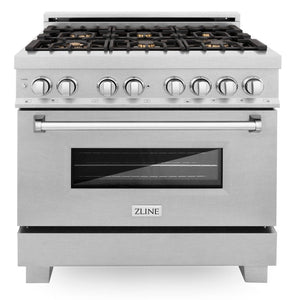 "ZLINE 36"" Professional Gas Burner/Electric Oven in DuraSnow® Stainless with Brass Burners, RAS-SN-BR-36"
