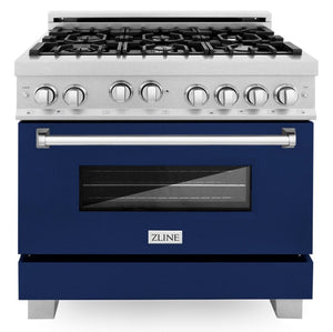 ZLINE 36 in. Professional Gas Range in DuraSnow® Stainless Steel with Blue Gloss Door, RGS-BG-36