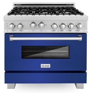 ZLINE 36 in. Professional Gas Range in DuraSnow® Stainless Steel with Blue Matte Door, RGS-BM-36